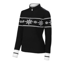 Neve Joy Ice Crystals Merino Wool Sweater - Zip Neck (For Women) in Black - Closeouts