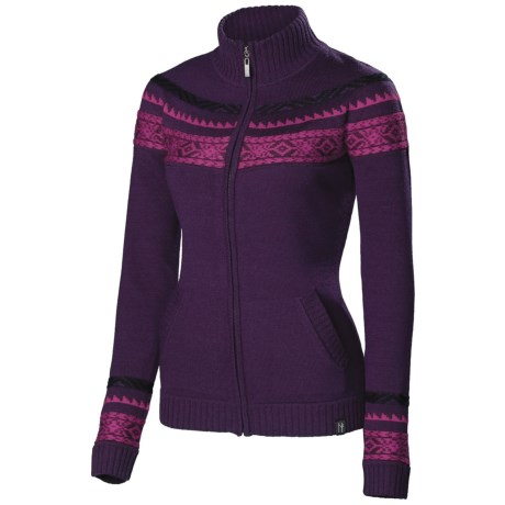 Neve Karin Cardigan Sweater - Merino Wool, Full Zip (For Women) in Wine