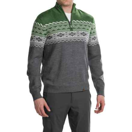 Neve Lars Ski Sweater - Zip Neck, Merino Wool (For Men) in Olive - Closeouts