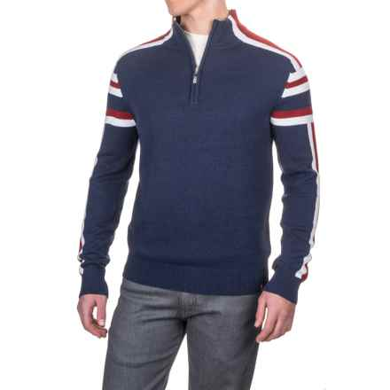 Neve Liam Retro Sport Sweater - Merino Wool, Zip Neck (For Men) in Navy - Closeouts