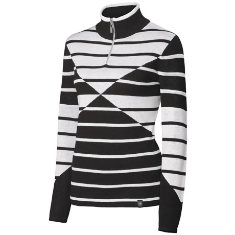 Neve Lindsey Sweater - Merino Wool, Zip Neck, Long Sleeve (For Women) in Black