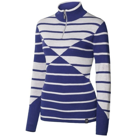 Neve Lindsey Sweater - Merino Wool, Zip Neck, Long Sleeve (For Women) in Cobalt