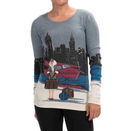 Neve New York Crew Neck Shirt - Long Sleeve (For Women) in New York Print - Closeouts