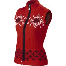 Neve Nina Nordic Vest - Merino Wool, Full Zip (For Women) in Red - Closeouts
