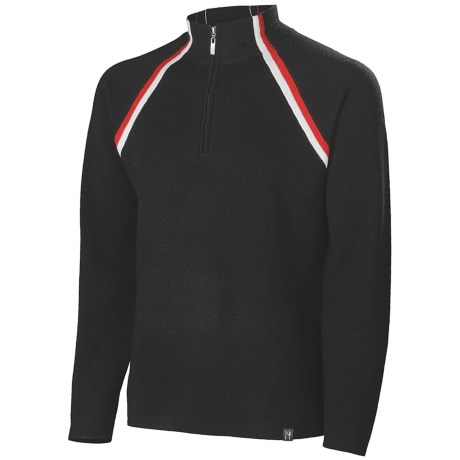 Neve Parker Sweater - Merino Wool, Zip Neck (For Men) in Black