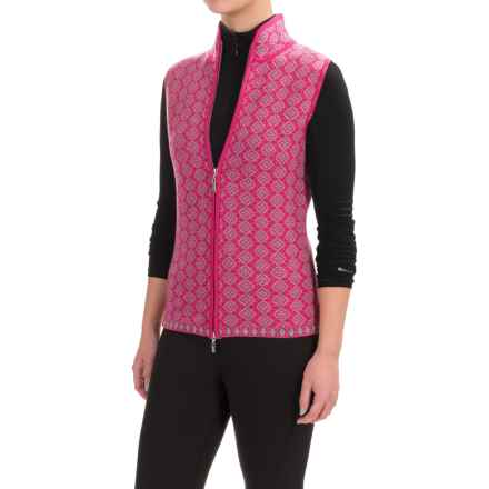 Neve Pia Zip Front Sweater Vest - Merino Wool (For Women) in Fuschia - Closeouts