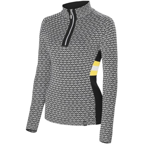 Neve Riley Sweater - Merino Wool Blend, Zip Neck (For Women) in Canary