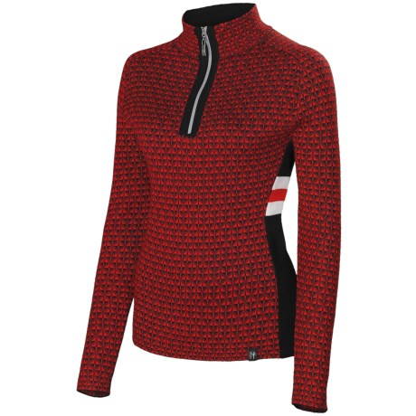 Neve Riley Sweater - Merino Wool Blend, Zip Neck (For Women) in Red