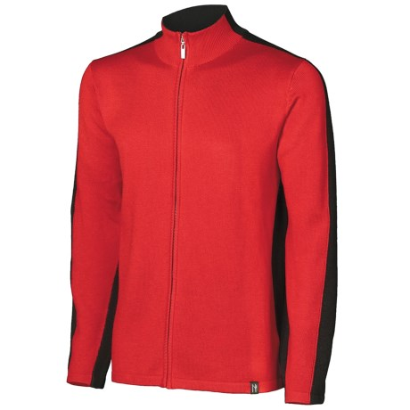 Neve River Cardigan Sweater - Full Zip (For Men) in Red