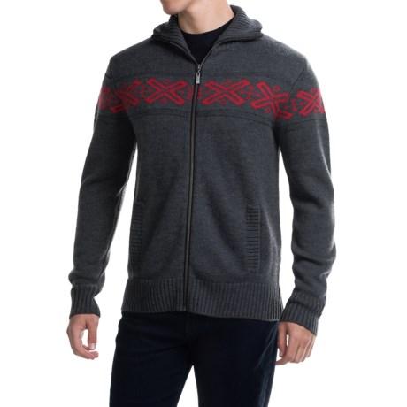Neve Ryan Sweater - Merino Wool (For Men) in Charcoal/Wine