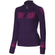 Neve Sienna Cardigan Sweater - Merino Wool, Full Zip (For Women) in Grape - Closeouts