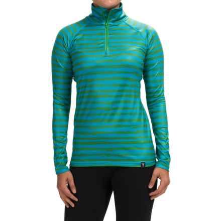 Neve Stripe Print Shirt - Zip Neck, Long Sleeve (For Women) in Aquamarine - Closeouts