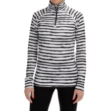 Neve Stripe Print Shirt - Zip Neck, Long Sleeve (For Women) in Black - Closeouts