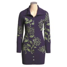 Neve Tracy Long Floral Cardigan Sweater - Merino Wool, Button Front (For Women) in Alpine - Closeouts