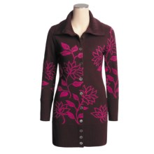 Neve Tracy Long Floral Cardigan Sweater - Merino Wool, Button Front (For Women) in Raspberry - Closeouts