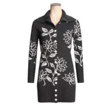 Neve Tracy Long Floral Cardigan Sweater - Merino Wool, Button Front (For Women) in Snow - Closeouts