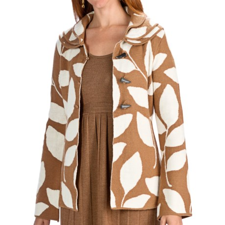 Neve Valerie Boiled Wool Jacket - Leaf Print (For Women) in Vicuna