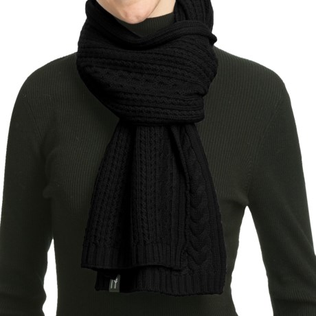 Neve Vivienne Cabled Merino Wool Scarf (For Women) in Black