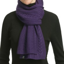 Neve Vivienne Cabled Merino Wool Scarf (For Women) in Grape - Closeouts