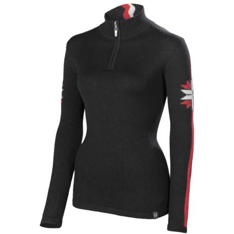 Neve Zoe Sweater - Merino Wool, Zip Neck (For Women) in Black
