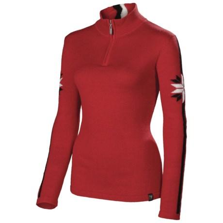 Neve Zoe Sweater - Merino Wool, Zip Neck (For Women) in Red