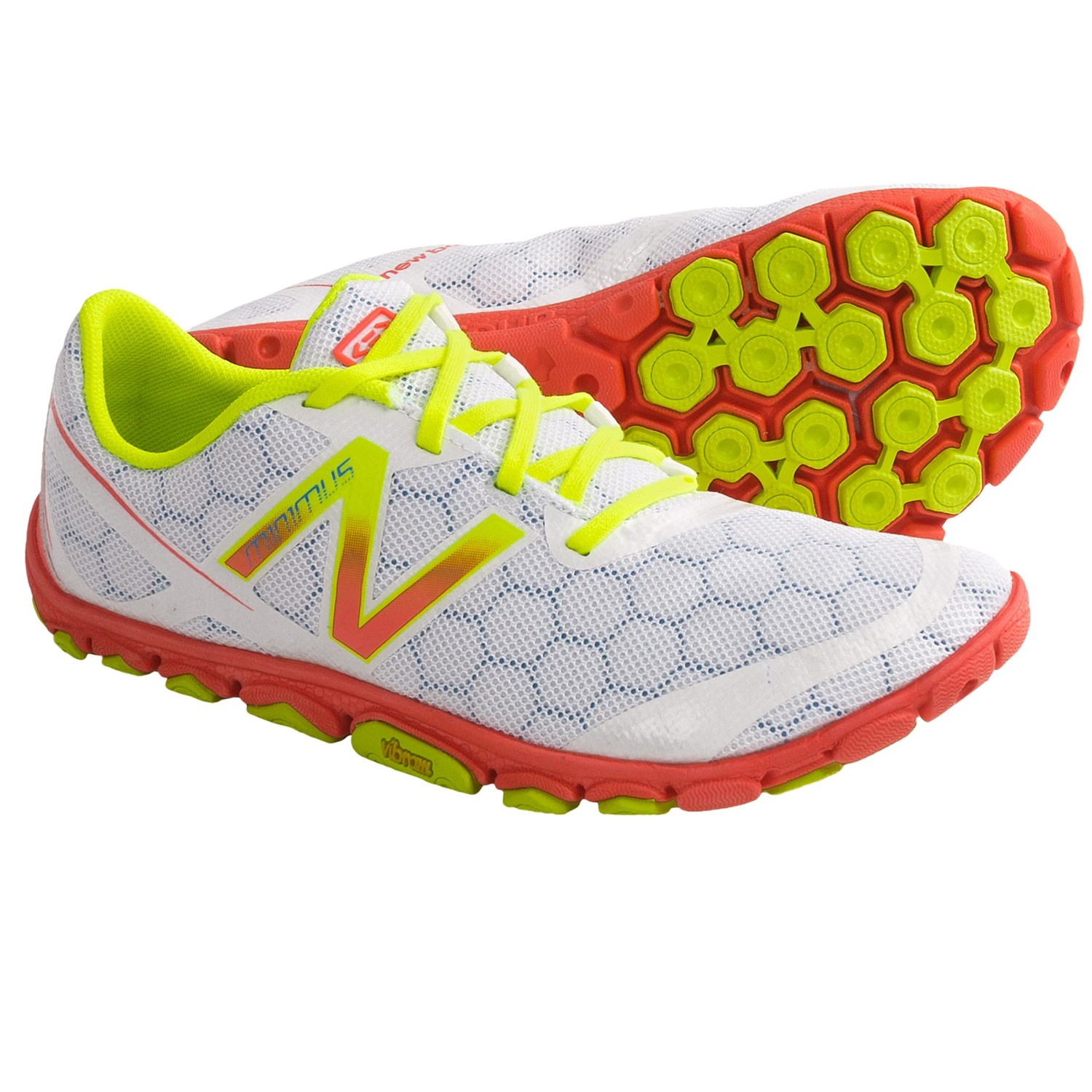 Running Shoes - Minimalist (For Women) in White/Coral/Neon Yellow