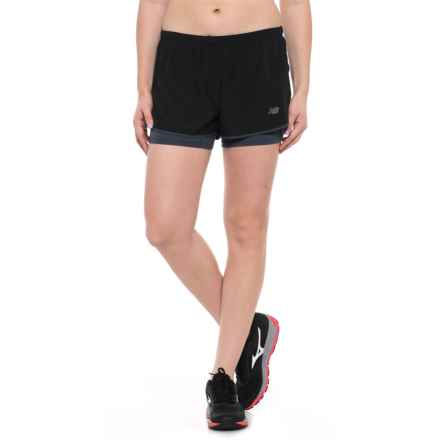 New Balance 2-in-1 Woven Shorts (For Women) in Black - Closeouts