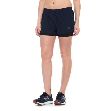 New Balance 2-in-1 Woven Shorts (For Women) in Pigment