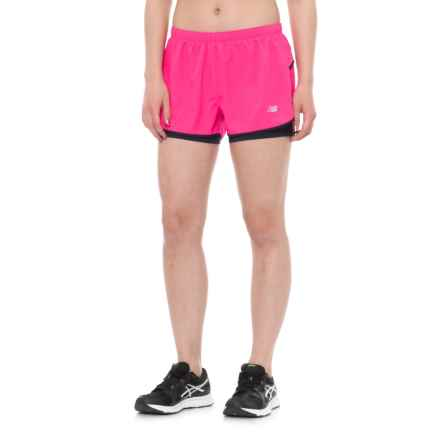 New Balance 2-in-1 Woven Shorts (For Women) in Pink Glo - Closeouts