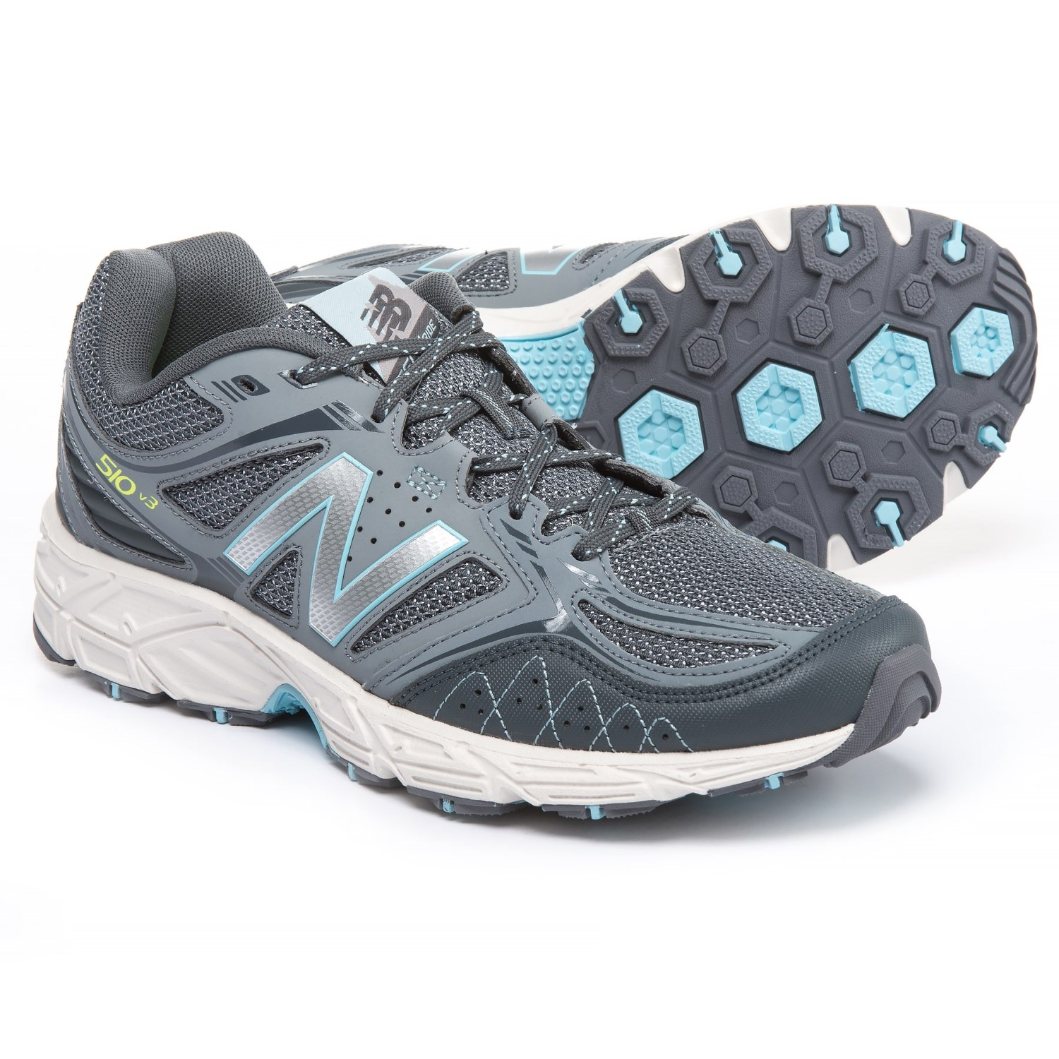 New Balance 510V3 Trail Running Shoes (For Women) in Grey/Fresh Water/