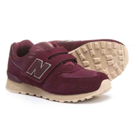 New Balance 574 Sneakers - Touch Fasten (For Boys) in Burgundy - Closeouts
