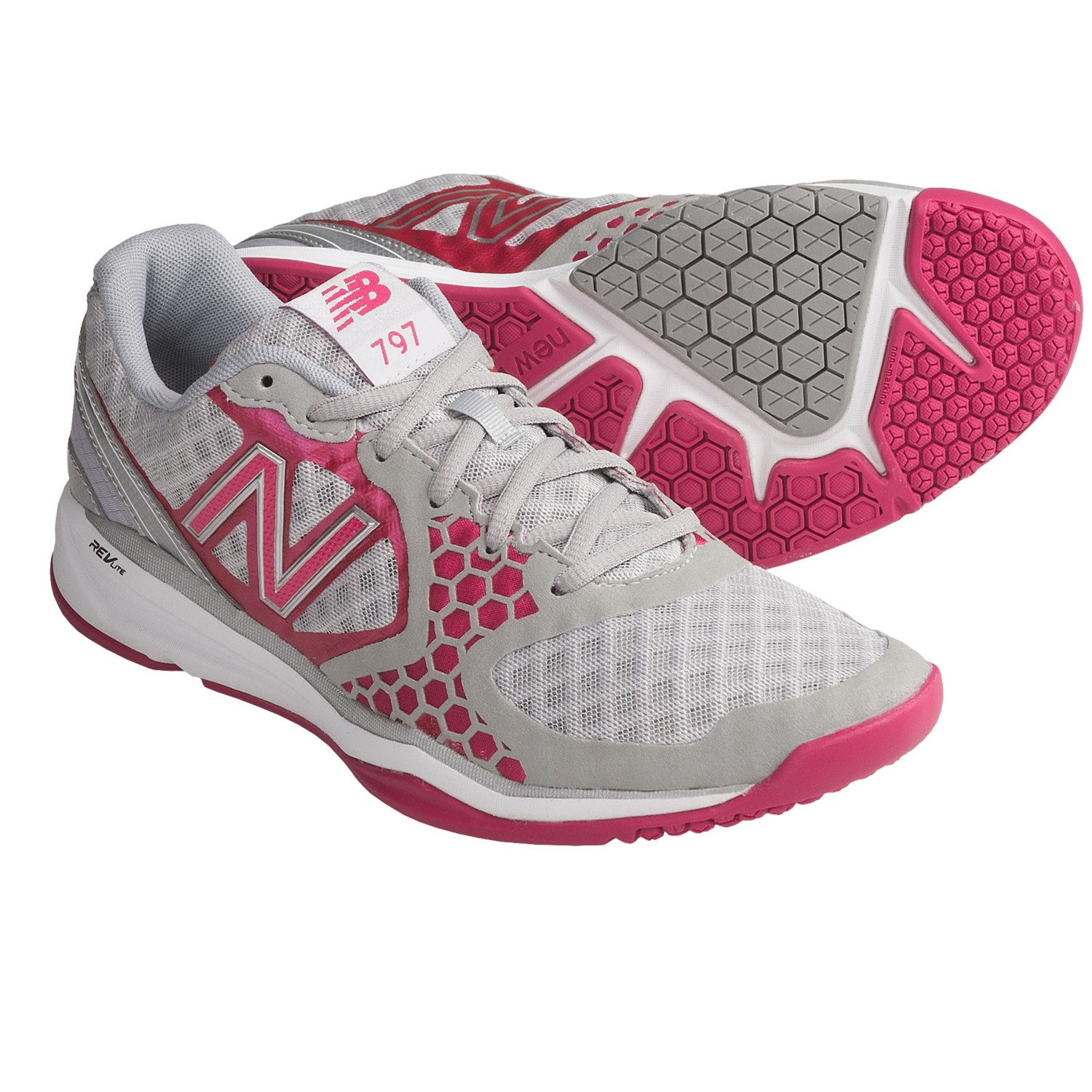 New Balance 797 Cross Training Shoes (For Women) in Silver/Diva Pink