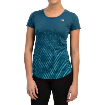 New Balance Accelerate Graphic Shirt - Short Sleeve (For Women) in Deep Water/Sea Glass - Closeouts