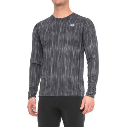 New Balance Accelerate Graphic T-Shirt - Long Sleeve (For Men) in Grey - Closeouts