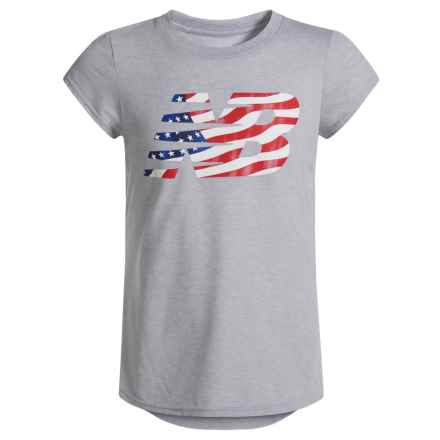 New Balance American Flag Logo Graphic T-Shirt - Short Sleeve (For Big Girls) in Grey - Closeouts