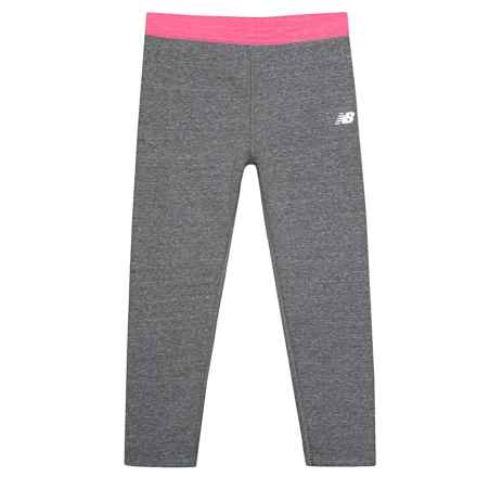 New Balance Athleisure French Terry Joggers (For Little Girls) in Grey Heather/Hot Pink - Closeouts