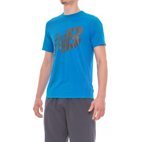 New Balance Athletic Graphic T-Shirt - Short Sleeve (For Men) in Electric Blue