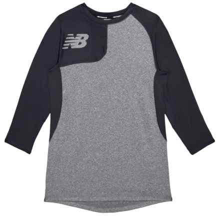 New Balance Baseball T-Shirt - Long Sleeve (For Big Boys) in Black/Gray - Closeouts