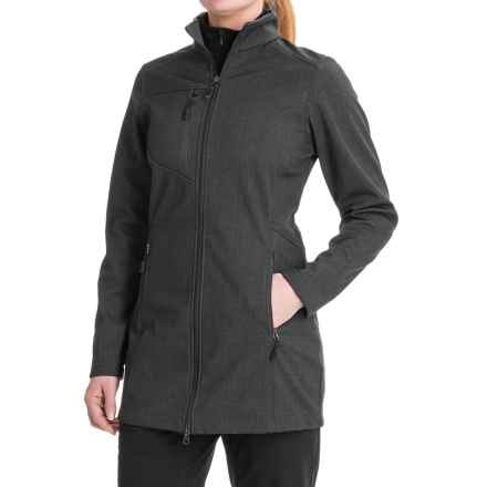 New Balance Bonded Fleece Soft Shell Jacket (For Women) in Charcoal Boxed Crosshatch - Closeouts