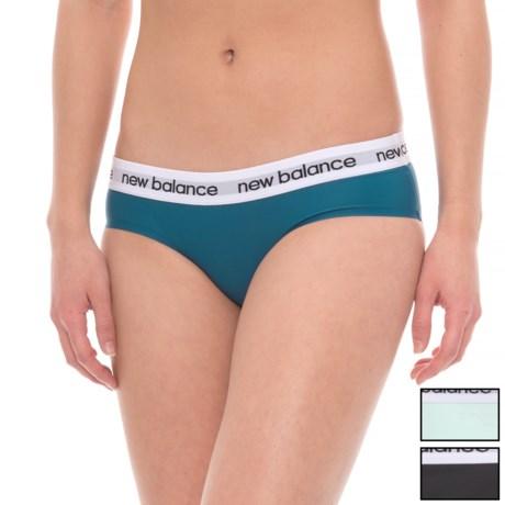 New Balance Bonded Logo Panties - 3-Pack, Bikini (For Women) in Moroccan Blue/Water Vapor/Black