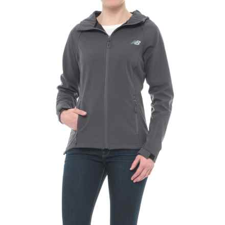 New Balance Bonded Mesh Soft Shell Jacket - Hooded (For Women) in Magnet - Closeouts