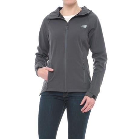 New Balance Bonded Mesh Soft Shell Jacket - Hooded (For Women) in Magnet