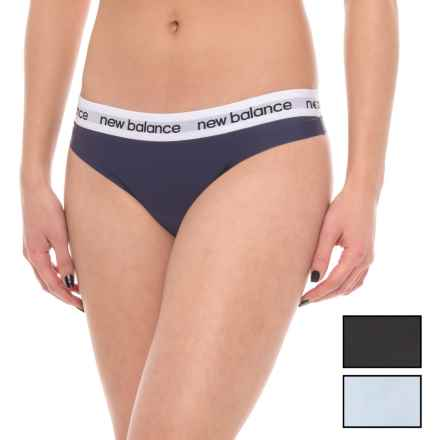 New Balance Bonded Seamless Panties - 3-Pack, Thong (For Women) in Dark Denim/Ice Storm/Black - Closeouts