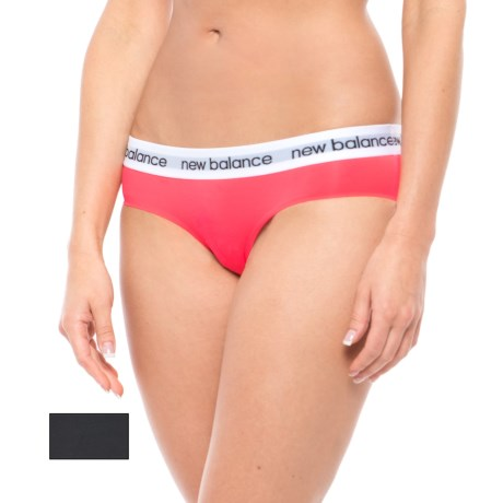New Balance Branded Panties - Hipsters, 2-Pack (For Women) in Bright Cherry/Black