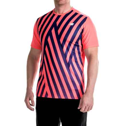 New Balance Brunton Crew Shirt - Short Sleeve (For Men) in Bright Cherry - Closeouts