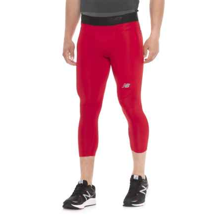 New Balance Challenge Tights - 3/4 Length (For Men) in Team Red Print - Closeouts