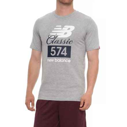 New Balance Classic 574E Running T-Shirt - Short Sleeve (For Men) in Athetic Grey - Closeouts