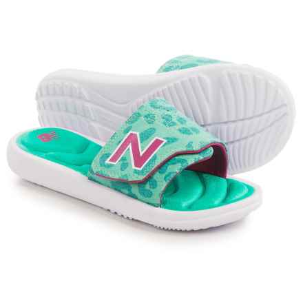 New Balance Classic Slide Sandals (For Little and Big Kids) in White/Green - Closeouts