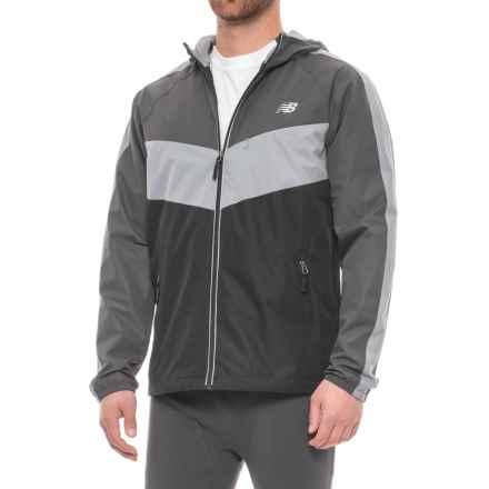 New Balance Color-Block Dobby Hooded Jacket (For Men) in Black/Magnet/Steel - Closeouts