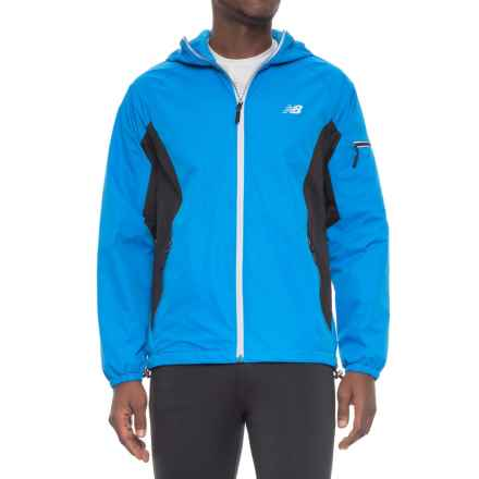 New Balance Color-Block Rain and Wind Jacket - Hooded (For Men) in Laser Blue/Black - Closeouts